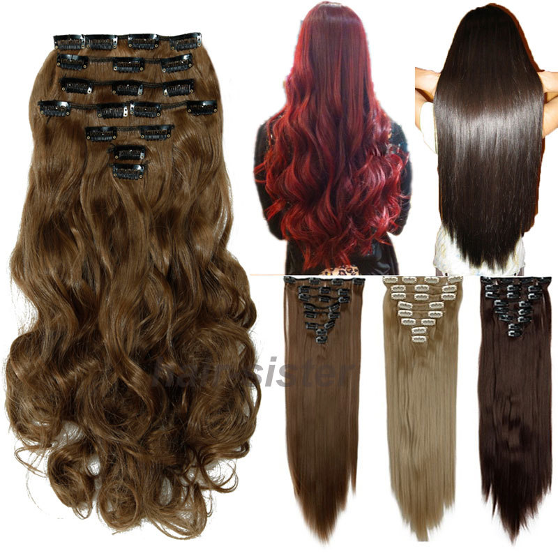 """FACTORY PRICE 100% natural Hair Extention Full Head Clip in on Hair Extensions Synthetic Black Brown 24"""" 60CM Curly Wavy 8PCS(China (Mainland))"""