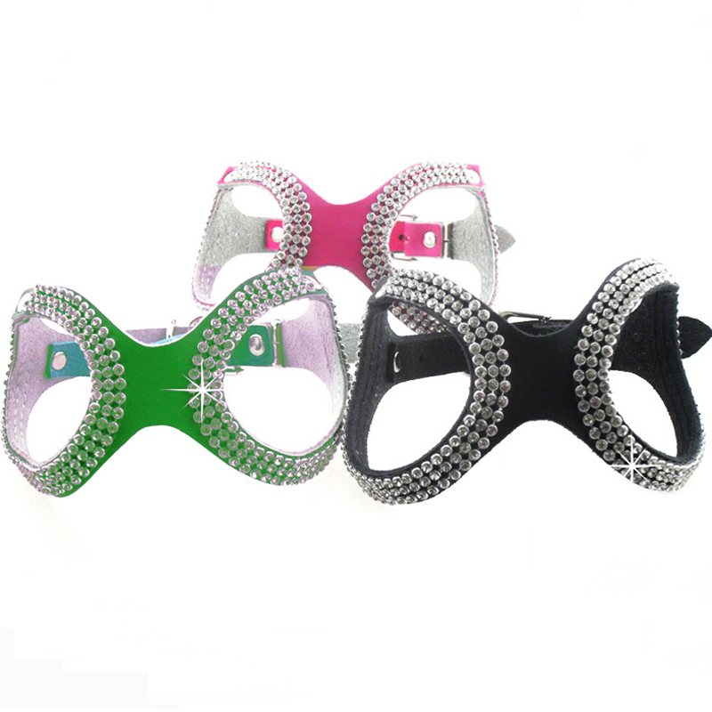 S M L New Fashion Glasses Style Bling Crystals Pet Dog Harness Collar Black Green Rose Rhinestone Leather Harness for Small Dogs(China (Mainland))
