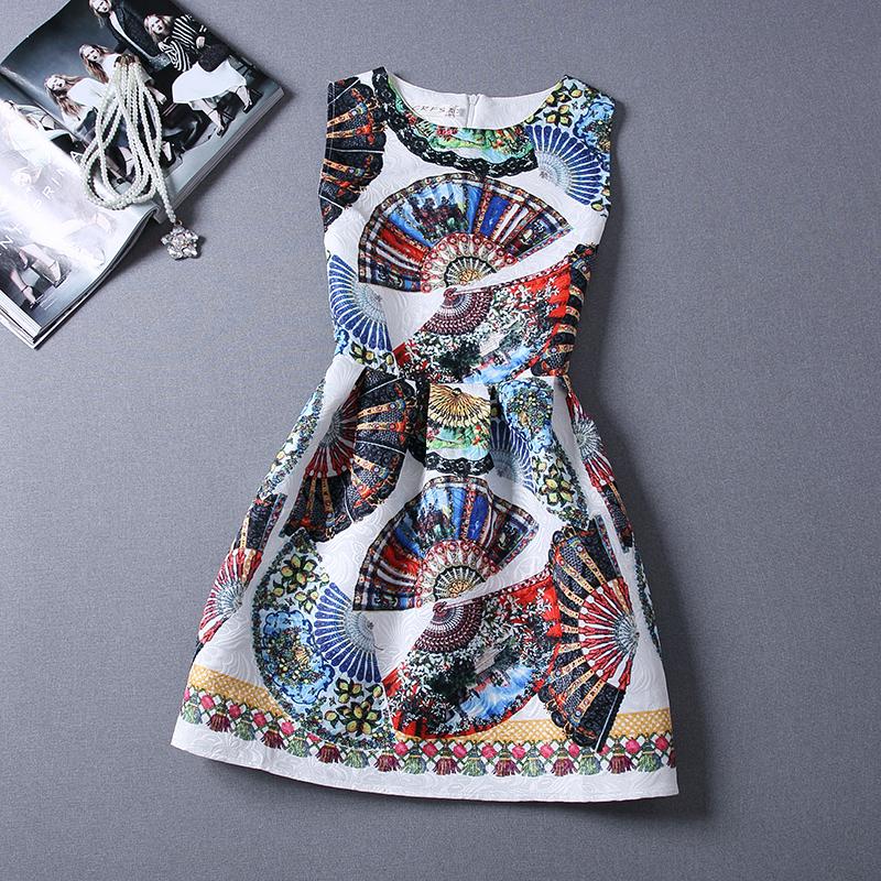 2015 New Retro Fan flower print sleeveless vest one-piece dress for women Summer fashion dresses ladies hin thin clothes(China (Mainland))