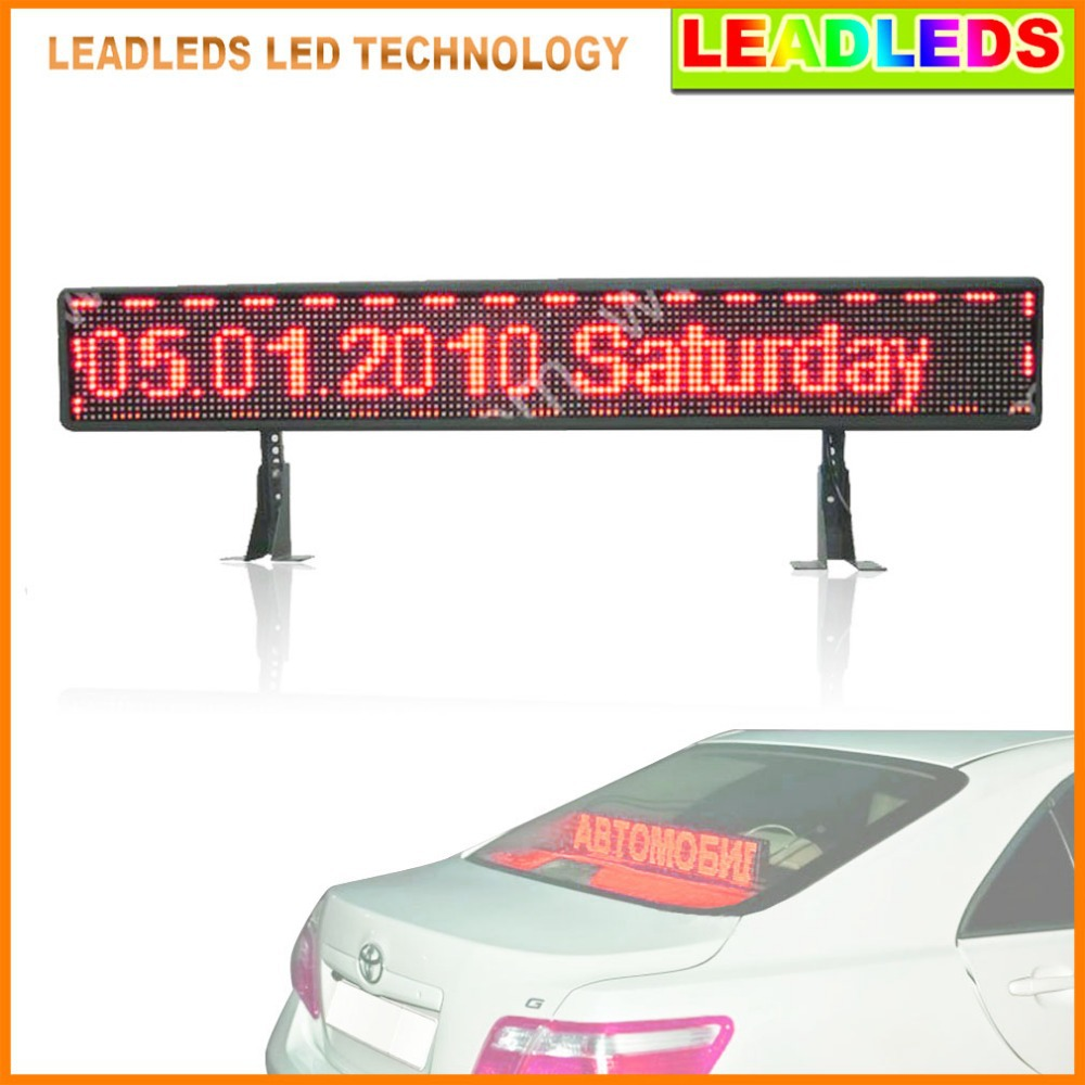 p6 12v red taxi car rear window programmable USB input Scrolling Message led advertising display board(China (Mainland))