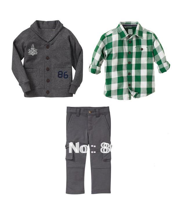 wholesale boy suits spring kid's 3pcs cloth set high quality cardigan+long sleeve check shirt+ pant(China (Mainland))