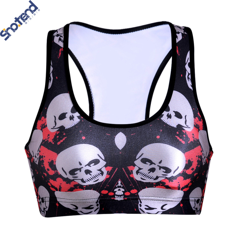 S.T 2016 New Women Sports Bra For Running GYM Padded Bright Red Skull No Rims Tops Bras For Woman Summer Style(China (Mainland))