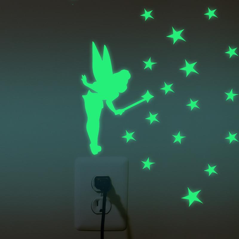 1 Pcs Luminous Switch Stickers Fairy Sprinkle Stars Bear Simpson Avatar Spider Fluorescent Kids Cartoon Decals Light Emitting(China (Mainland))