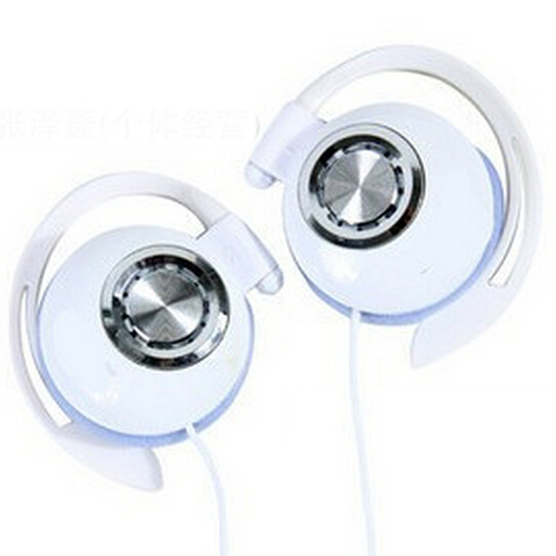 High Quality 1PC White Clip On Sports Stereo Super Clear Bass Headphones For MP3 MP4 Cellphone Noise Isolating Ear Hook Earphone