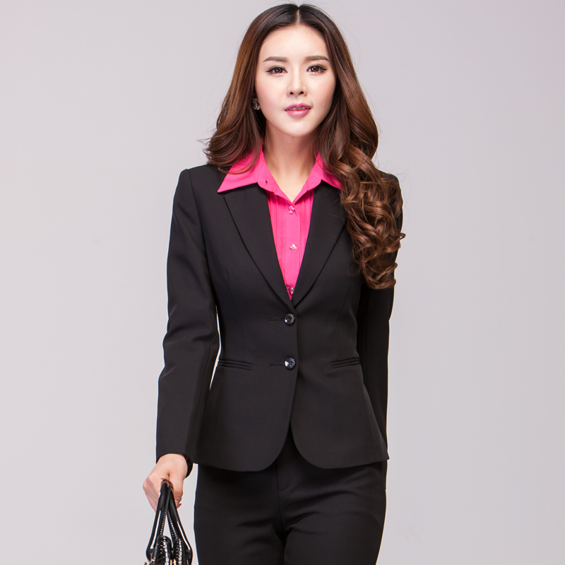 new autumn women pant suits black women business suits for