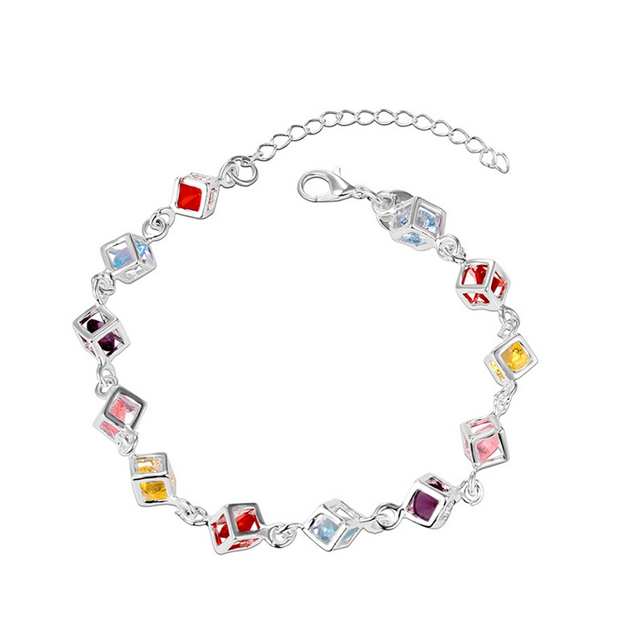 Multicolor Crystal High Quality Silver Plated Bracelet Zircon Crystal Cube Bracelets Chain Jewelry for Women Wedding D0161(China (Mainland))