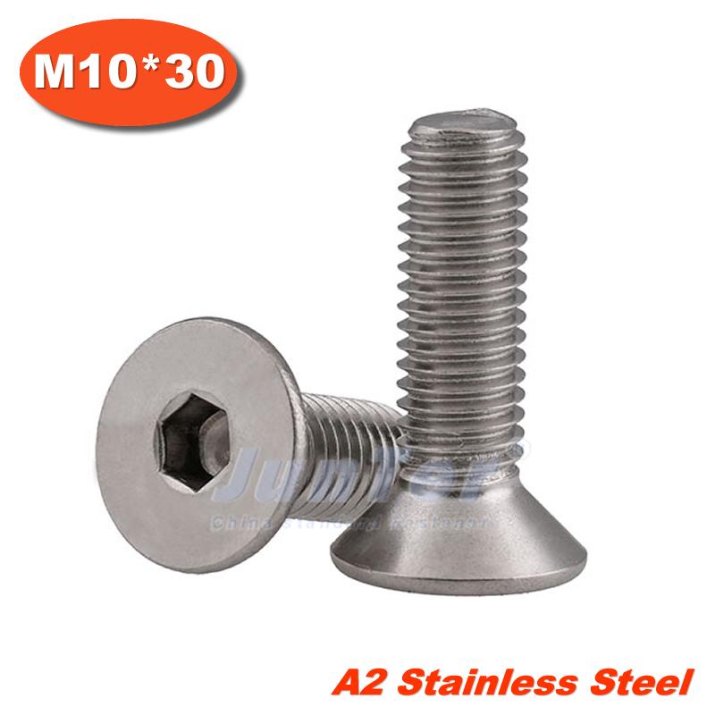1 DIN7991 M10*30 Stainless Steel A2 Flat Socket Head Cap Screw  -  Junter official store store