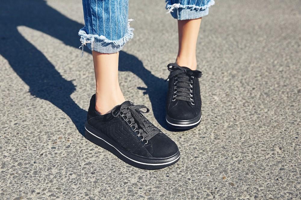 Flat Platform Nubuck Grain Leather chaussure femme women flat shoes Round Toe black red Comfortable woman casual shoes