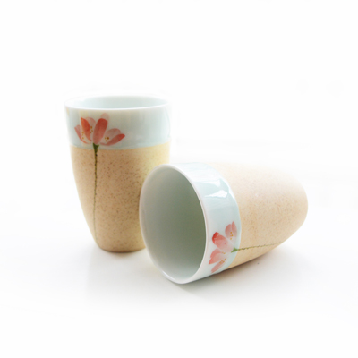 Jingde town brief style High temperature ceramic cup,handmade crude pottery glaze cup,hand painted lotus green glaze drinkware(China (Mainland))