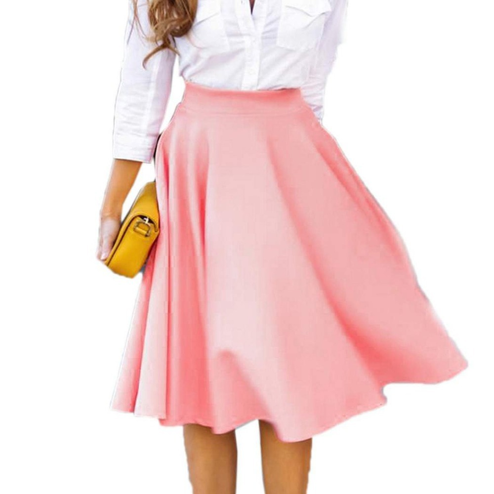 summer style 2015 new skirts womens falda solid color knee
