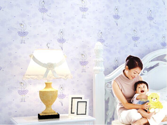 House decoration cartoon princess vinyl wallpaper for kids for Wallpaper kids home
