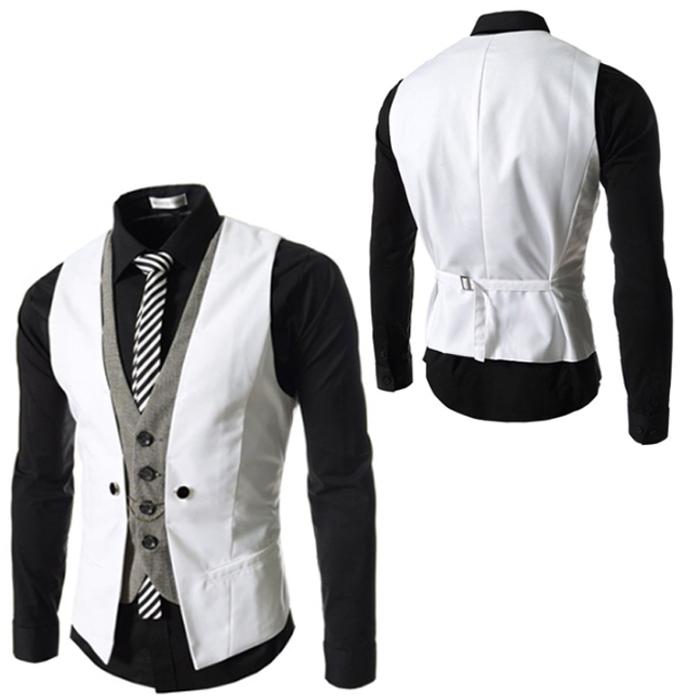 Best 2015 Spring Fashion New Basic Casual Suit Vest Men Faux Two ...