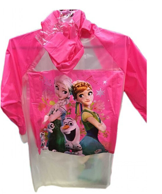 Children's Snow Queen Theme Rainwear girls cartoon princess Anna&Elsa Raincoat Waterproof Coat 2 designs(China (Mainland))
