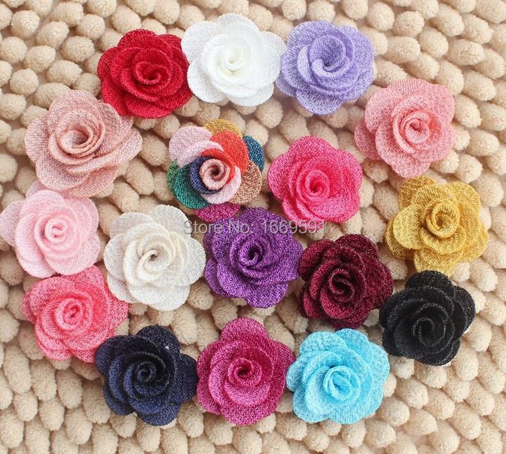 17 colors Mini Burlap Flowers,Fabric Flower, Rosettes, DIY, Hair Accessories Baby Headbands(China (Mainland))