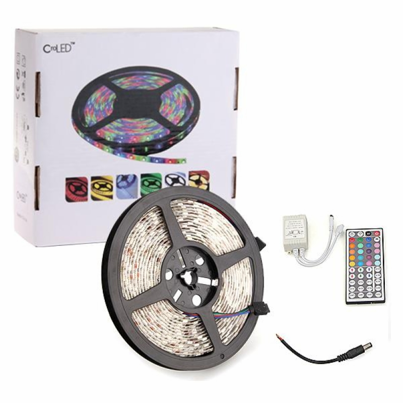 5M LED Strip Light Lamp + 44 Key Remote Controller Waterproof IP65 5050 SMD RGB 12V 16 Colors 7 Modes Car Party Home Decoration(China (Mainland))