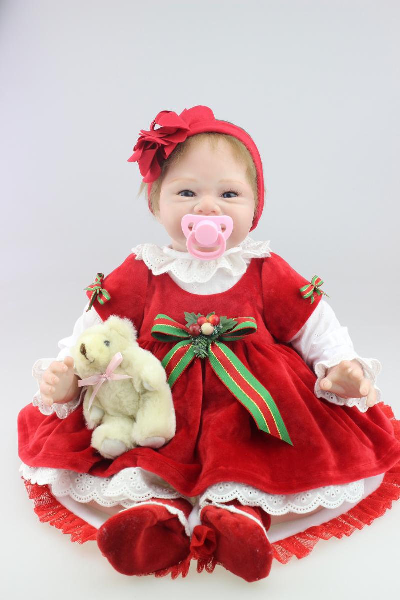 Lifelike silicone reborn dolls 55CM size boneca baby-reborn best Christmas gift for babies/girls top quality