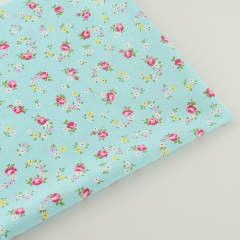 Cotton Fabric Blue Printed Floral Designs Home Textile Fabric Quilting Tela Bedding Scrapbooking Decoration Tecido Sewing Cloth(China (Mainland))