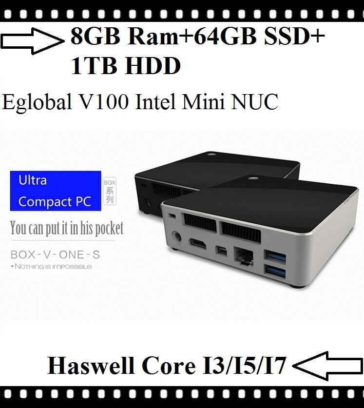 Best Mini PC Linux Intel Nuc Intel Core i7 i5 i3 4Gen Processor 8GB Ram 64GB SSD 1TB HDD HTPC Kodi HDMI Mini DP 4K HD Display(China (Mainland))