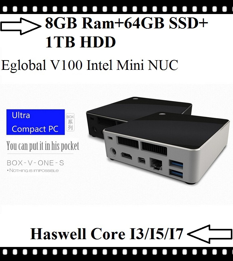 Best Mini PC Linux Intel Nuc Intel Core i7 i5 i3 4Gen Processor 8GB Ram 64GB SSD 1TB HDD HTPC Kodi HDMI Mini DP 4K HD Display(China (Mainland))