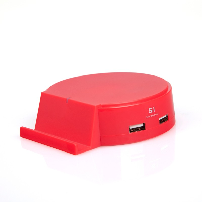 2016 USB Gadgets 4ports 25W USB Smart Charger 5V/5A USB Power Adapter with Stand for iPhone Android Smart Phone Tablet PC- Red