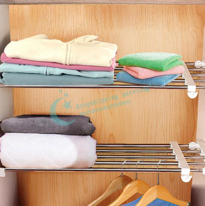24*35cm Multifunctional Free Nail Retractable Shelf Wardrobe Cabinet Layered Rack Organize Storage Holder Free Shipping(China (Mainland))