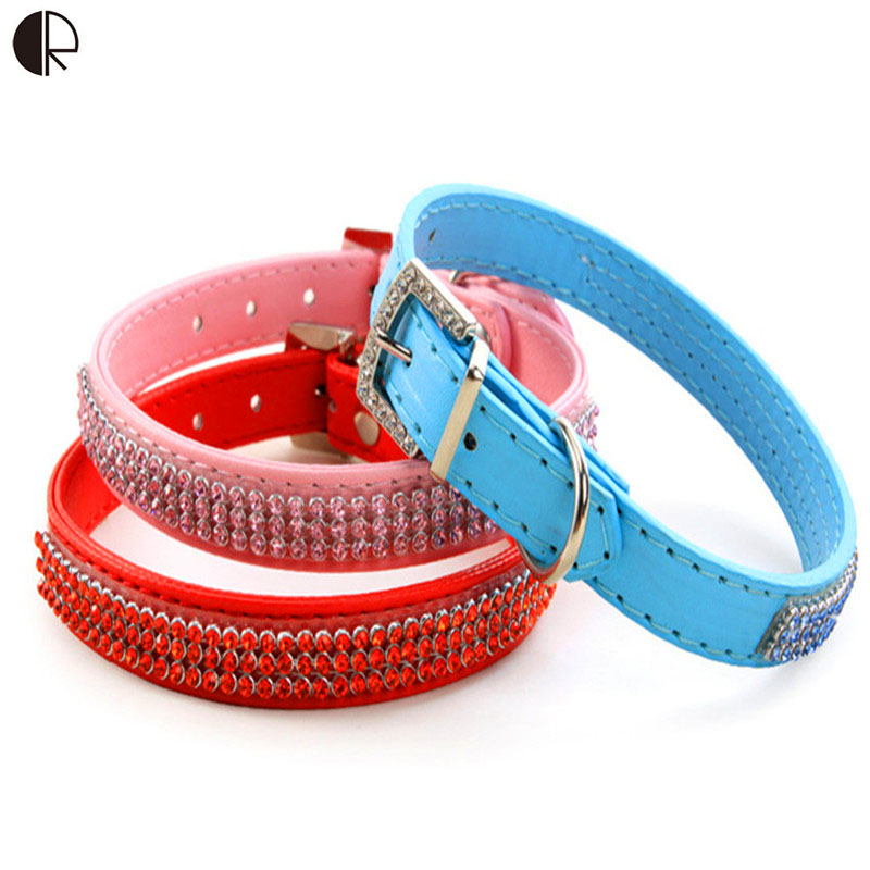 Bling Biling Designer Colorful Rhinestone Leather Dog Collar Small Dog Harness And Leash Lead set Pet shop Dog Supplies HP701(China (Mainland))