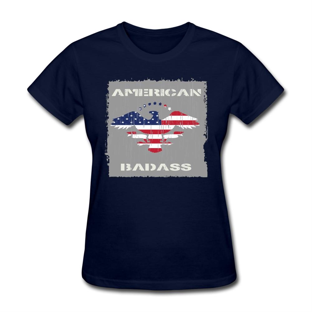 T Shirt Plus Size Girls Round Neck American badass usa eagle flag Clothes Oversize Style Women Shorts Shirt Big Size(China (Mainland))