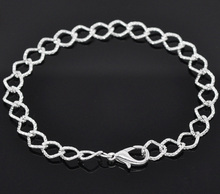 hot-  12 Silver Plated Lobster Clasp Link Chain Bracelet 20cm (B14185)(China (Mainland))