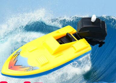 Popular toys educational toys Plastic boat on the chain clockwork toy ship swimming motorboat free shipping(China (Mainland))