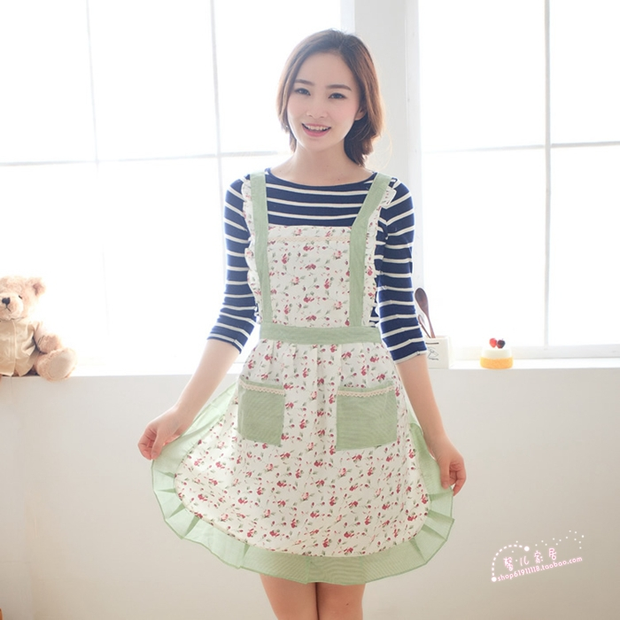 Freee Shipping 1PCS korean graden country Love bust cotton kitchen apron cut aprons gowns tracksuit woman fashion apron(China (Mainland))