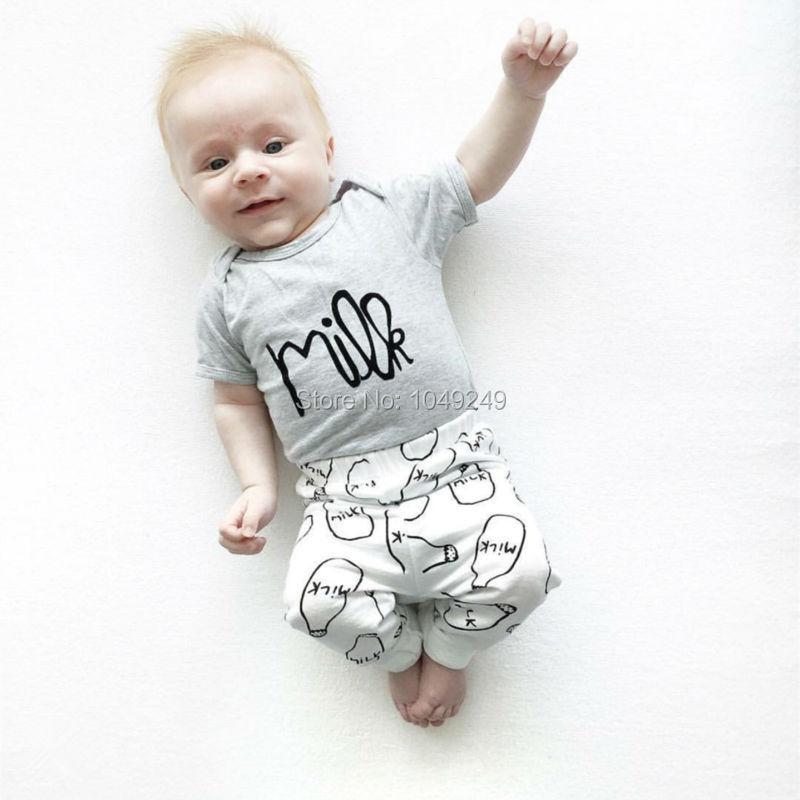 New summer 2016 Baby Girl Clothes Milk Printed Short-sleeved Tshirt + Pants Baby Boy Clothing Newborn Cotton Infant Set(China (Mainland))