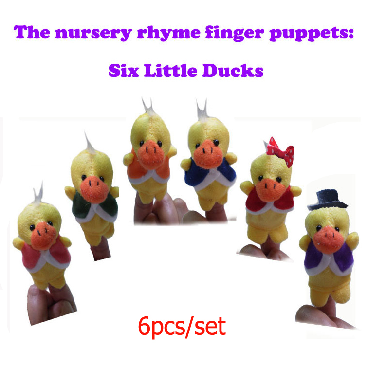 72pcs/set World Nursery Rhyme Puppets-Six Little Ducks Plush Finger Puppets /Hand Puppets For Kids Talking Props Freeshipping(China (Mainland))