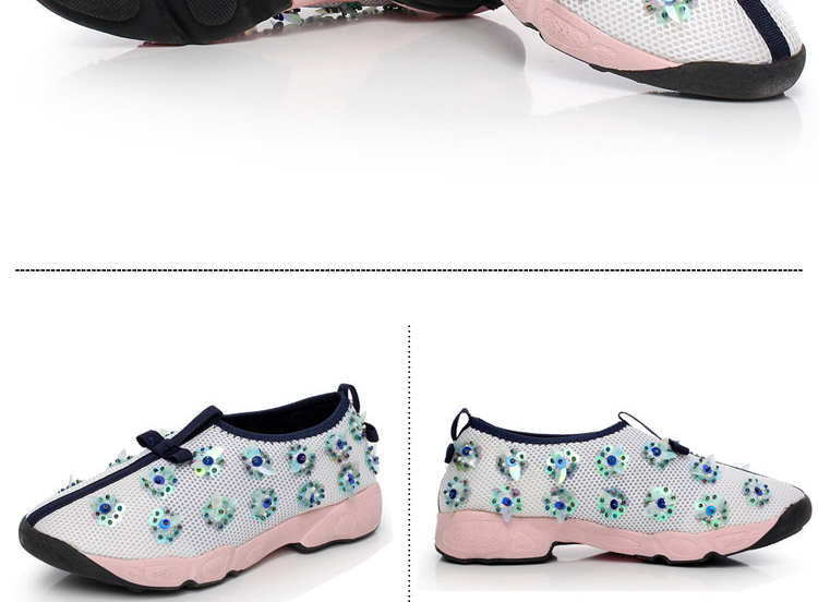 2015 summer handmade diamond mesh embroidery flats sequin flower heavy-bottomed shoes for women