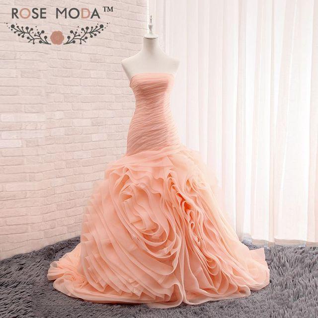 Потрясающие без бретелек румяна персик труба свадебное платье 3D кружились органзы ...