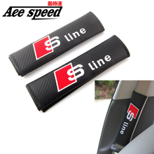 Ace speed– one Pair NEW  Seat Belt Cover Shoulder Pads carbon fiber style with fot sline logo for Audi Material pu