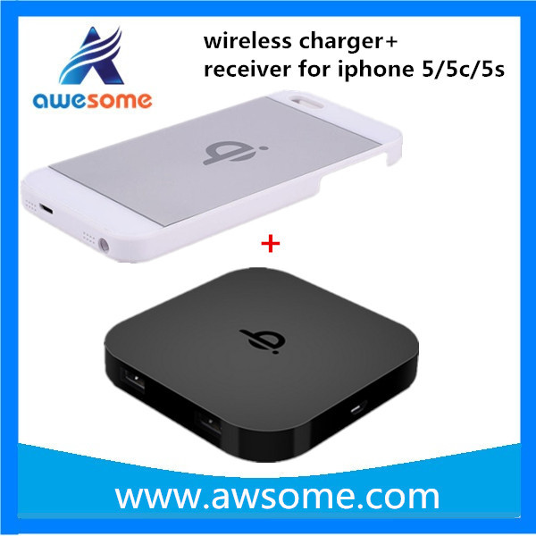 2015 Qi Wireless Charger Transmitter Pad Mat Plate+Wireless Charging Case Receiver Back Cover Power Charger Kit For iPhone 5 5S(China (Mainland))