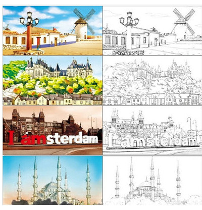 travel coloring book Picture - More Detailed Picture about Travel ...