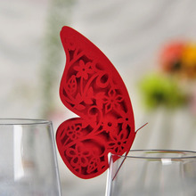 12pcs Red Butterfly Shaped Laser Cut Paper Place Card / Escort Card / Cup Card/ Wine Glass Card For Wedding Decoration Favors