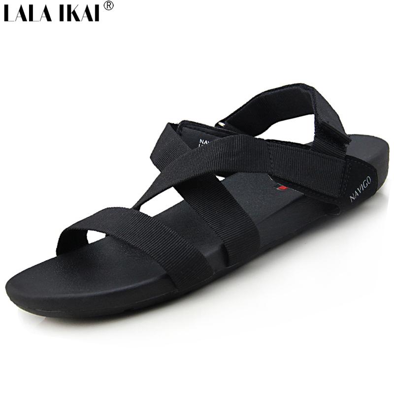 Summer Sandals Men 2017 Brand Designer Flat Heel Black Anti-Slipping Mens Shoes Handmade Breathable Beach Men Sandals XMH0081-5(China (Mainland))