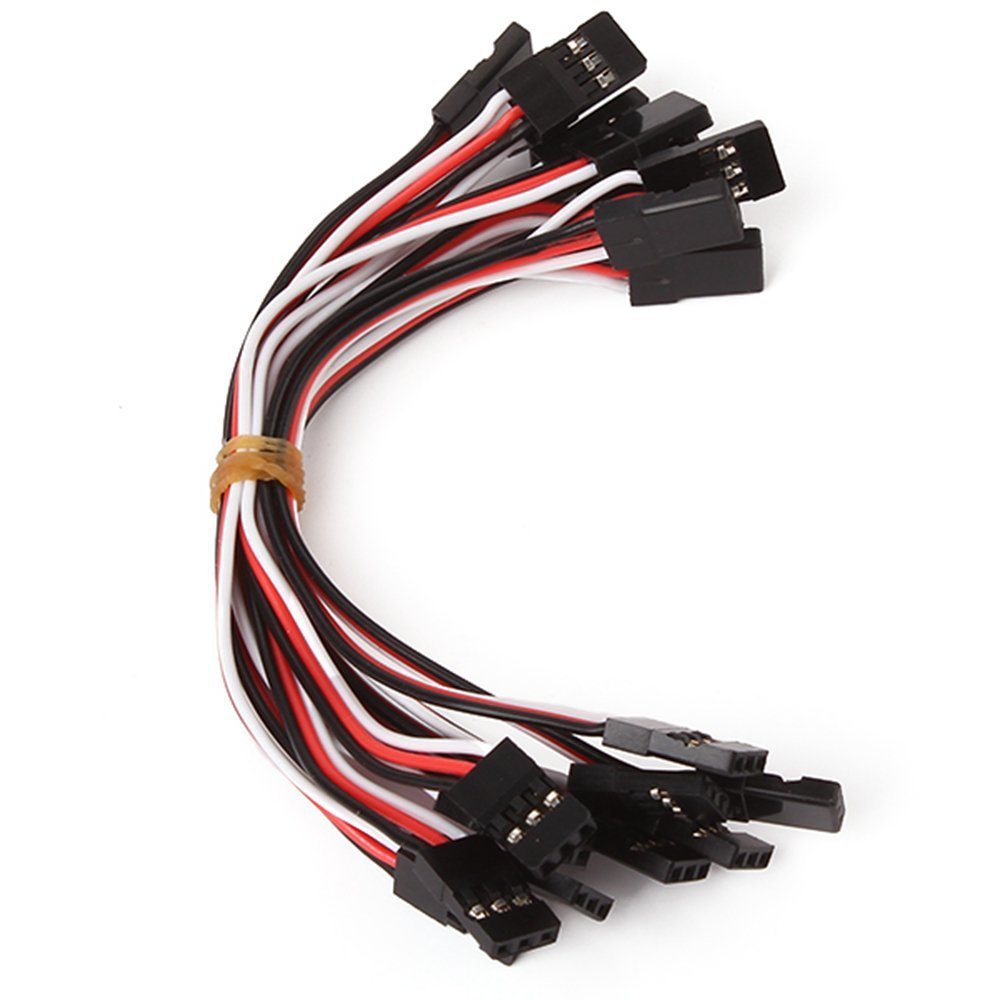 10 pcs Black 10cm Servo Extension Lead Wire Cable Male to Male JR Interface flight control Board For RC Quadcopter+Free shipping(China (Mainland))
