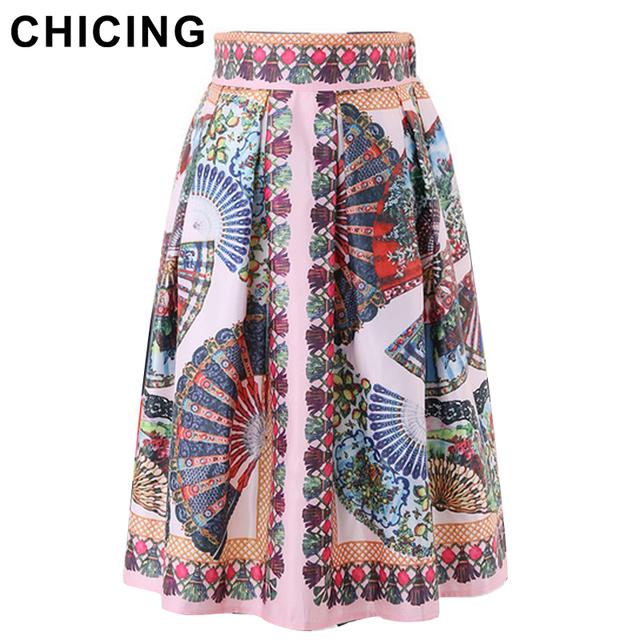 Chicing женщин плиссированные юбки 2016 мода марка ретро этнических племен хиппи ...
