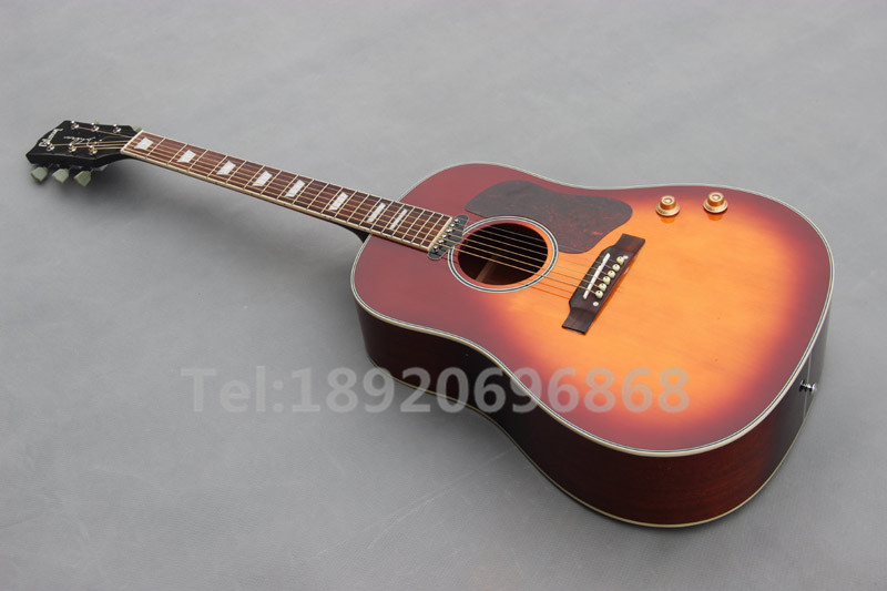 John Lennon signature 70th J-160E Acoustic Dreadnought Guitar Cherry Burst Acoustic Electric Guitar(China (Mainland))