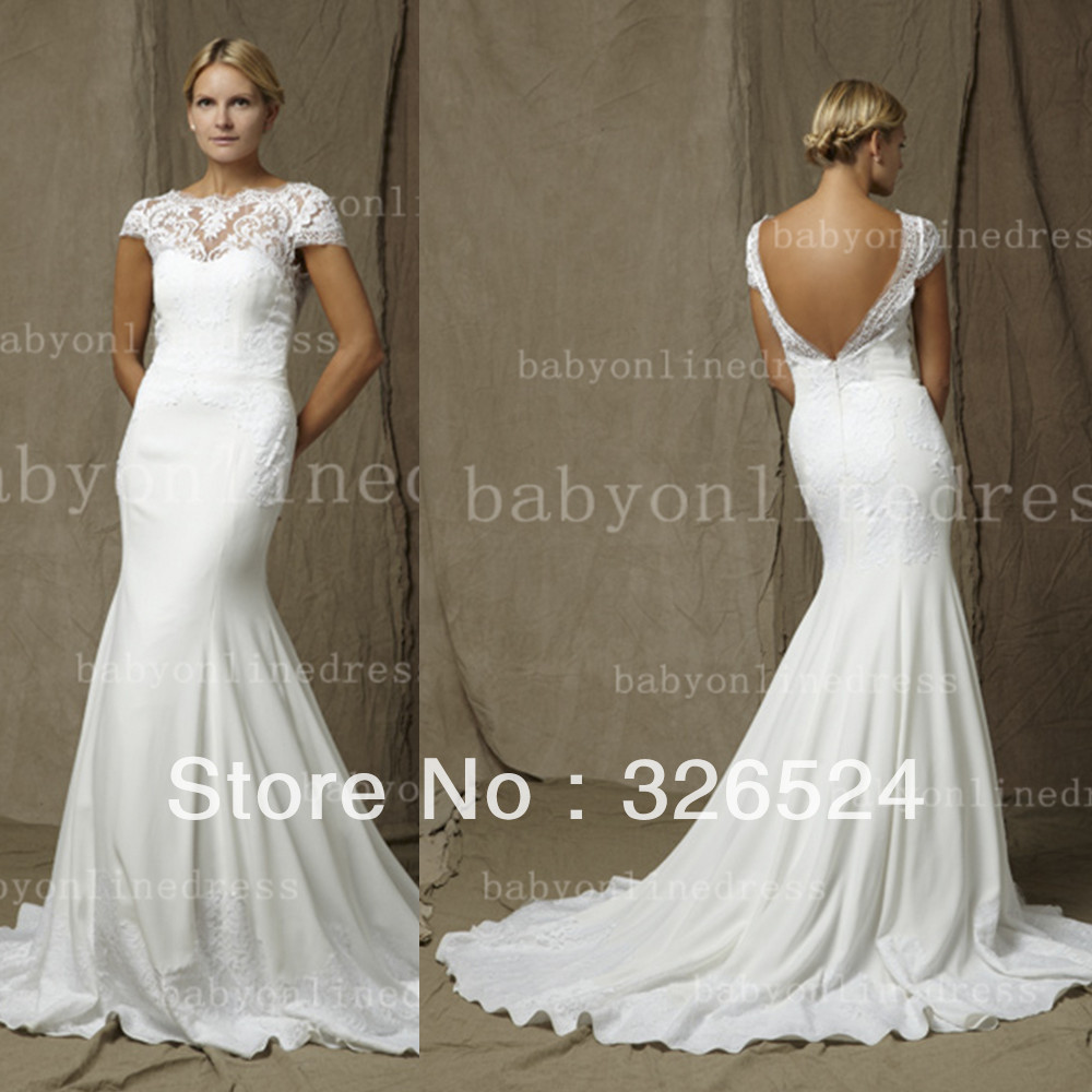 Lace wedding dress with cap sleeves and open back www for Lace wedding dresses open back
