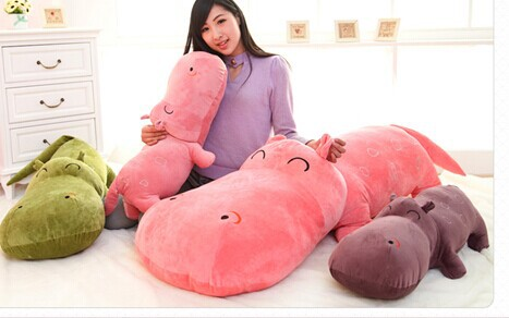 size 100 cm Large hippopotami stuffed plush doll sleeping pillow cute super large plush toy cloth doll baby child birthday gift<br><br>Aliexpress