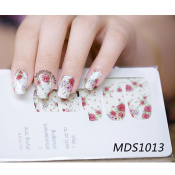14pcs/ Sheet Flowers Nail Wraps Red Rose Nail Art Full Stickers BORN PRETTY MDS1013 # 23251