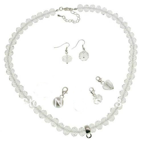 Stunning Natural Gem Stone Jewelry Set 8mm White Indulgence Crystal &amp; Charm Necklace 17 Earrings Handmade New Free Shipping<br><br>Aliexpress