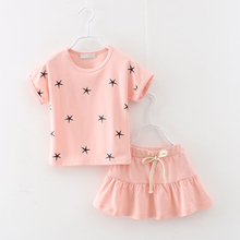 New summer fashion girl clothing Sets fashion print star T-shirt and skirts girls clothes(China (Mainland))