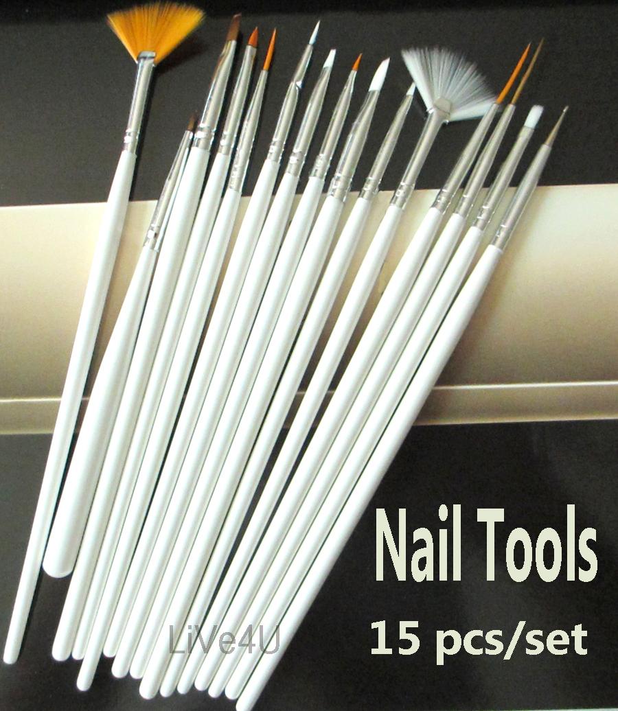Nail Tools 15pcs White Nail Art Acrylic Gel Tips Design Painting Drawing Pen Polish Brush Set Kit Free Shipping 4UNL99(China (Mainland))