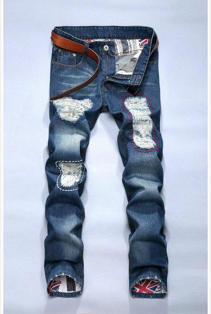 Бесплатная доставка продажи мужчин джинсы тонкий модный дизайн узкие джинсы джинсовые ...