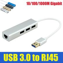 Binmer USB 3.0 to RJ45 10/100/1000M Lan Card Gigabit Ethernet Network Adapter+3 Port Hub for Macbook Windows 10(China (Mainland))